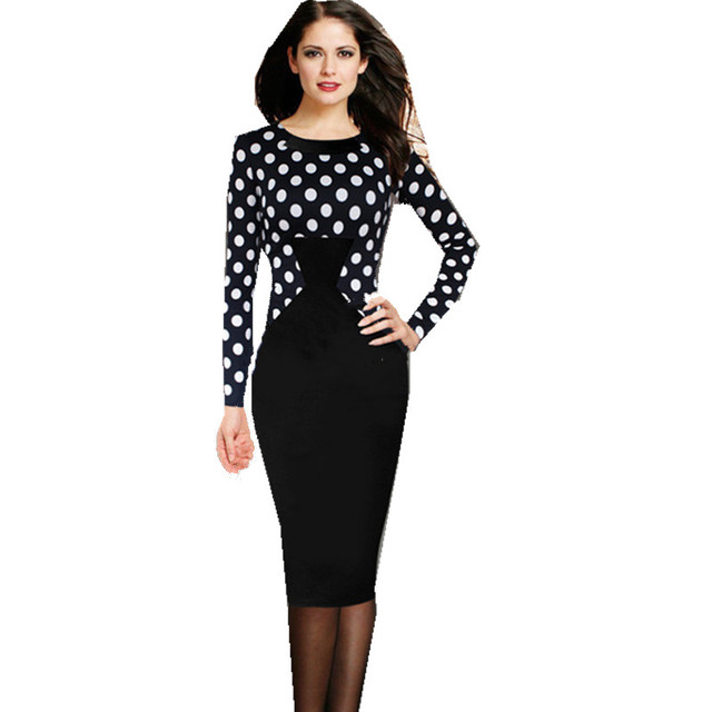 fe3027176b3 Polka Dot Elegant Women Dresses New Patchwork Full Sleeve Pencil Midi  Dresses Ladies Office Work Dress SL0688