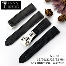 Carbon Fiber Silicone Watch Band for 19/20/21/22MM Watches Strap Watchband Rubber Bracelet Waterproof Belt for Omega Rolexwatch silicone rubber watch band for omega watchband 22mm men women belt wrist loop bracelet resin strap black tool spring bar