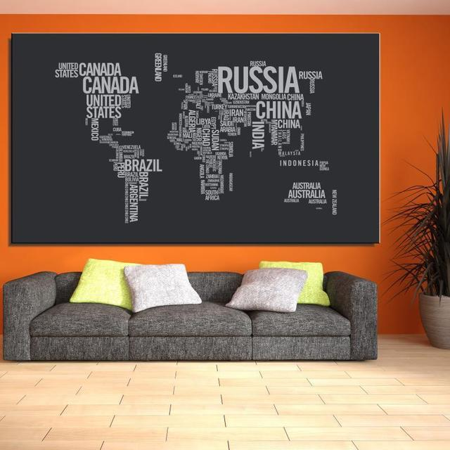 World map written words game modern spray frameless home decor world map written words game modern spray frameless home decor canvas oil painting drawing kitchen square gumiabroncs Gallery