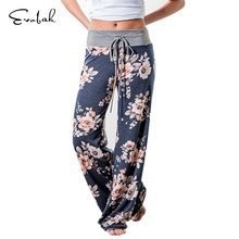 a32a8740387 Causal Women Autumn 22 Color Plus Size Flower Print Pants Wide Leg Pants  Loose Straight Trousers