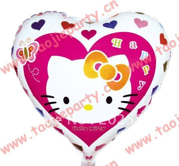 Hello Kitty heart shape balloon wedding birthday party decoration cartoon foil balloon free shipping 50pcs/lot