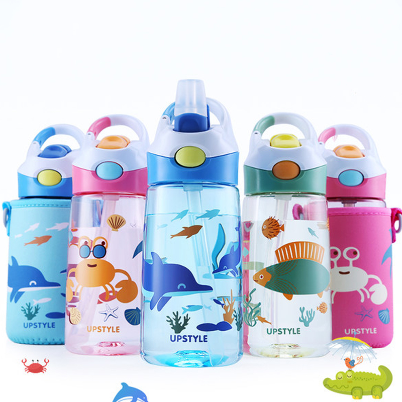 Kids Water Bottle With Protective Bag 400ml Drinking Kettle Cartoon Animal Drinkware Baby Fieeding Mama