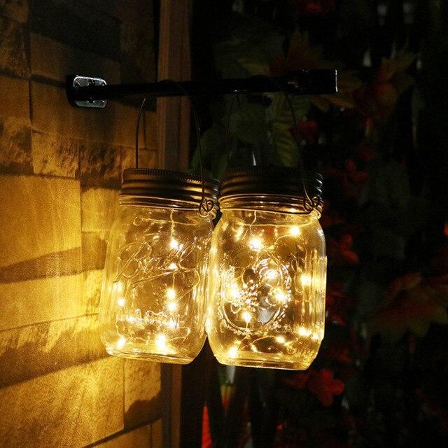 Fairy Led Solar Panel Gl Jar Starry Wall Candlestick Light Waterproof Outdoor Garden Pillar Lamp Wedding Party Garland Decor