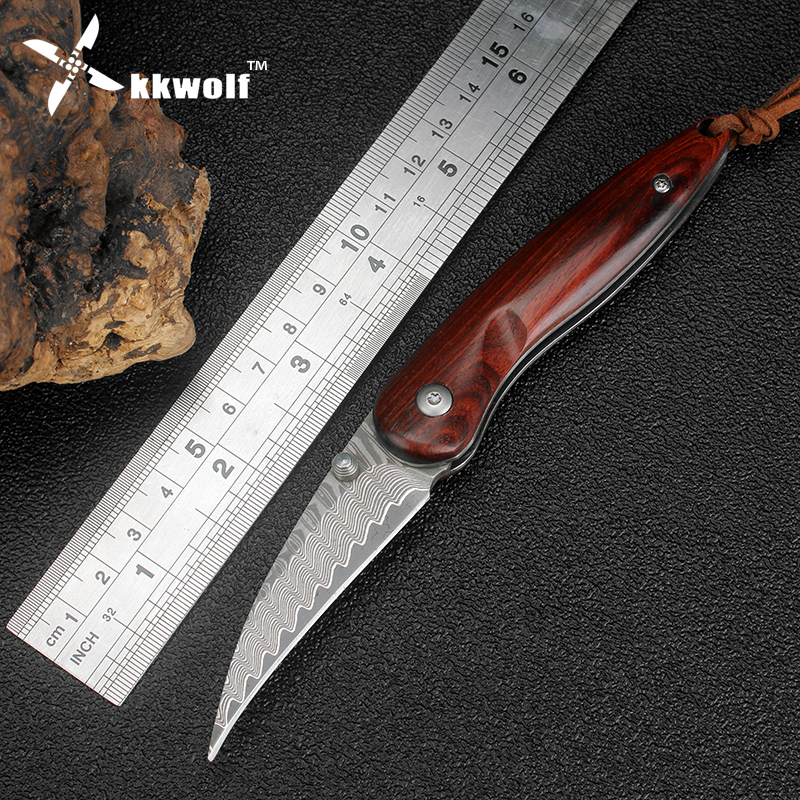 KKWOLF Handmade Damascus steel mini pocket knife camping folding Surviving hunting knife Wooden handle EDC self-defense Tactical high quality pu leather backpack women bag fashion solid backpacks school bags famous brand travel backpack 2017 new shell bags