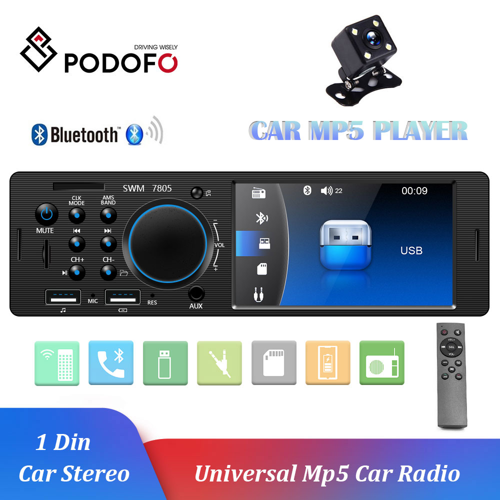 Podofo 1 Din Autoradio FM Car Radio Bluetooth Multimedia MP3 MP5 Player 4.1 Inch Car Stereo 12V Auto Audio USB Remote Control image