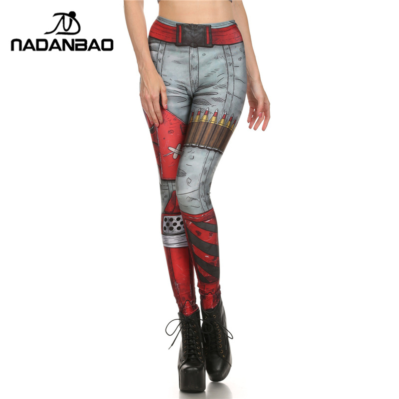 NADANBAO New Arrival Summer Fashion Design Leggins COMIC BLADE AND Ammo Leggins Individuality Printed Women   Leggings   Pants