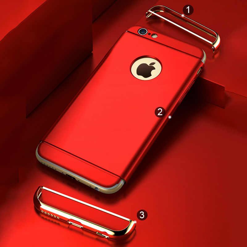 غطاء تصفيح فاخر أحمر خزائن هاتف آيفون X XR Xs 11 برو ماكس حقيبة لهاتف أي فون على 5 5s 6 6s 7 8 plus غطاء حماية صلب