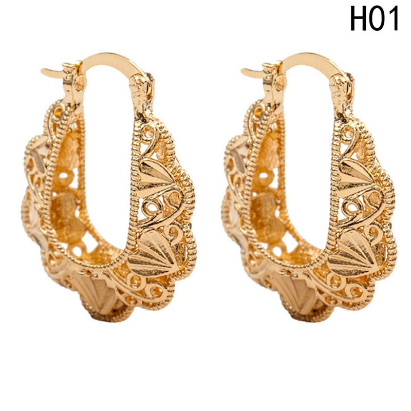 066224f3f Aliexpress.com : Buy New Design U Shape Hoop Earrings Gold Color Hollow  Flower Earring Round Circle Ear Jewelry Accessories For Women Gift from  Reliable ...