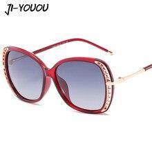 JIYOUOU diseñador mujeres 2018 nueva polarizado oculos marco redondo grande  rojo moda de gama alta damas gafas de sol UV outeye e864235b66d3