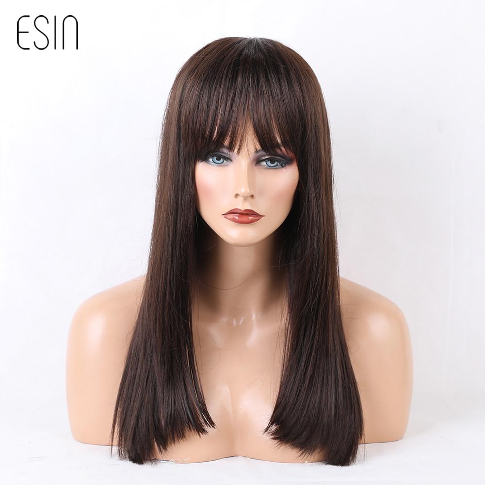 ESIN Женские смешанные парики 70% натуральные+30% синтетические волосы Длинный парик прямые волосы 40 см Прямая ровная челка, эффект естественно...
