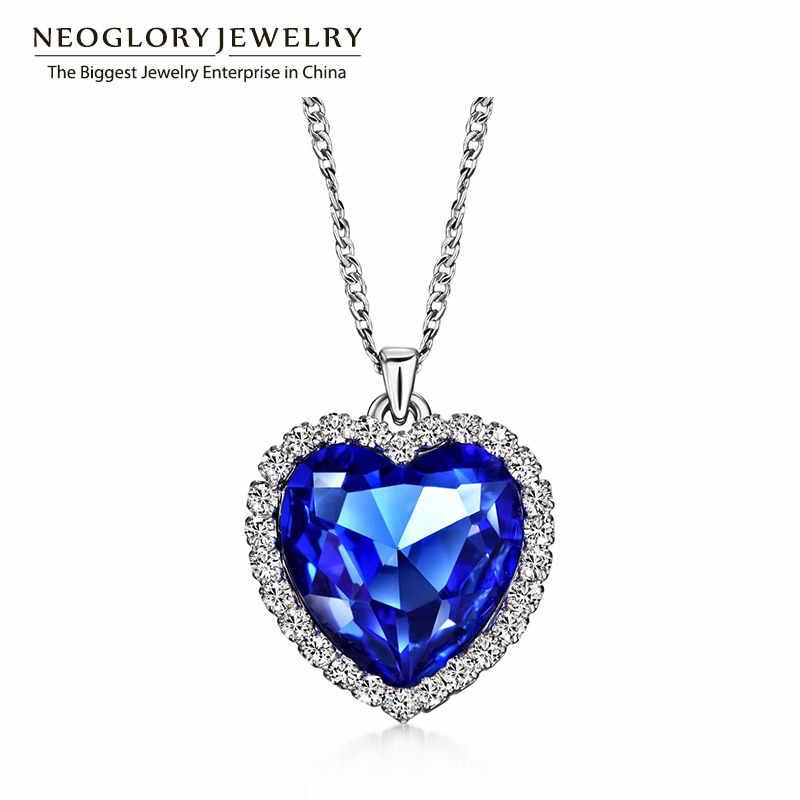 Neoglory cristal austríaco strass coração amor corrente colares & pingentes para mulheres moda jóias presentes 2020