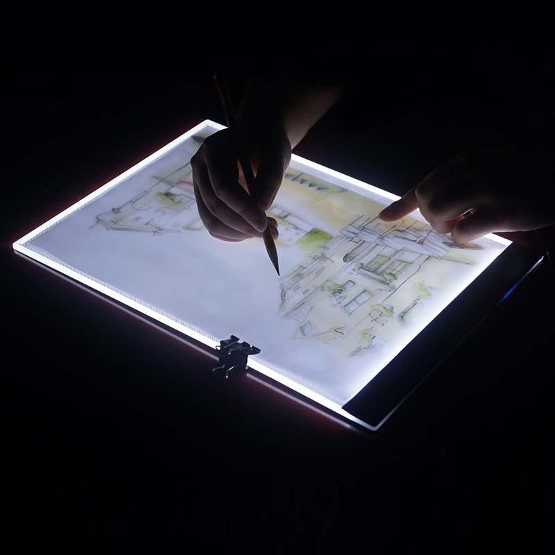 Ultra fino A4 LED stencil tablero táctil, luz Tablets pad aplicar para EU/UK/AU/ee.uu./enchufe USB Cuadros de punto de cruz