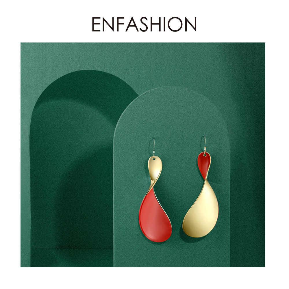 Enfashion Red Twist Oorbellen Voor Vrouwen Goud Kleur Grote Lange Verklaring Dangle Oorbellen Fashion Sieraden 2019 Oorbellen EC191017