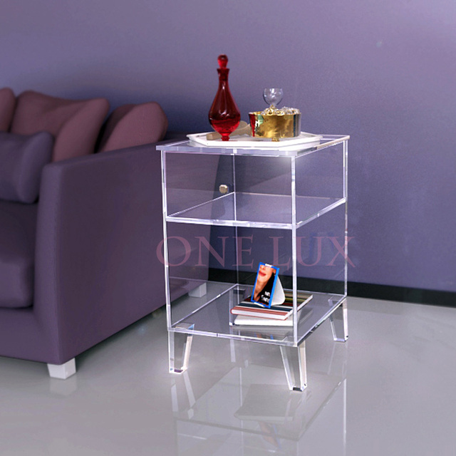ONE LUX Clear Acrylic Nightstand Single Drawer,Lucite End Sofa Cabinet Table Part 56