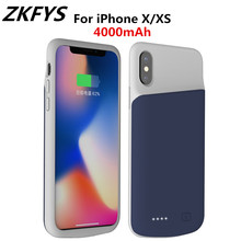ZKFYS 4000mAh External Back Clip Battery Case With Audio  For iPhone X XS Charger Backup Power Bank Charging