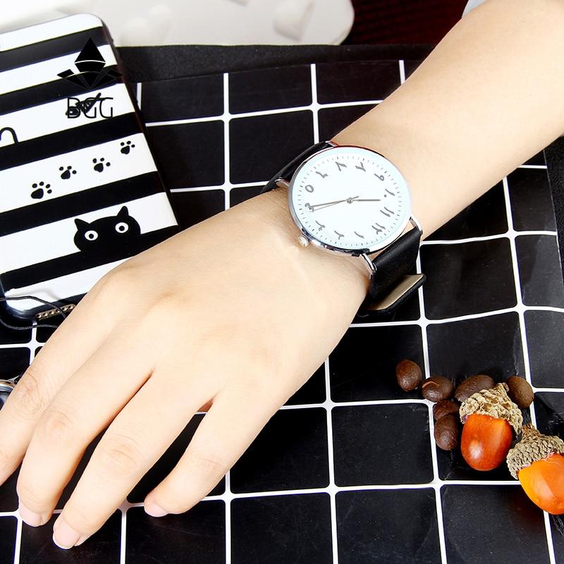 New fashion arabic numbers creative women watches black BGG brand ultra thin simple wristwatches quartz clock