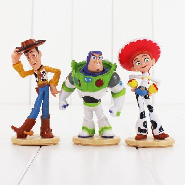 c2a8da333d166 3 pçs lote 3 Toy Story Buzz Lightyear Woody Jessie Figura de Brinquedo Mini  Modelo