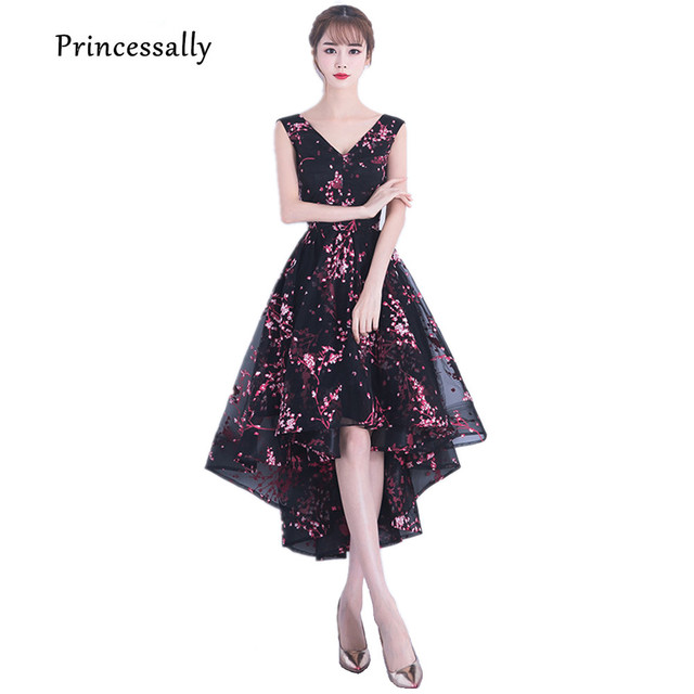 360b999dfe8 New High Low Black Evening Dress V neck With Lace Flower Pattern  Asymmetrical Short Front Long Back Homecoming Elegant Gown