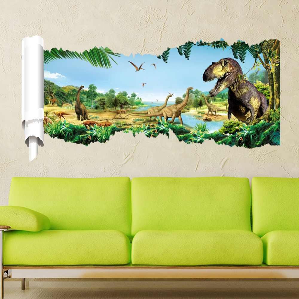 3D Юрский парк тираннозавр рекс птерозавры Динозавр наклейки на стену для мальчика украшения для детской комнаты мультипликационная наклейка из ПВХ художественные наклейки