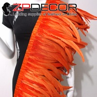 Tight! ZPDECOR Wholesale 1yard/150pcs 30 35CM Orange Chicken Coque Feather Fringe Trim for Carnival and Costume Decoration