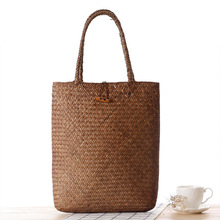 Fashion Summer Handmade Rattan Beach Bag Ladies Straw Woven Handbag Shoulder Bags Girls Shopping Bag Tote