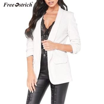 Libre de avestruz chaqueta de Otoño de las mujeres elegante sólido  bolsillos manga larga Jaqueta Couro femenina de piel elegante 44e74110c524