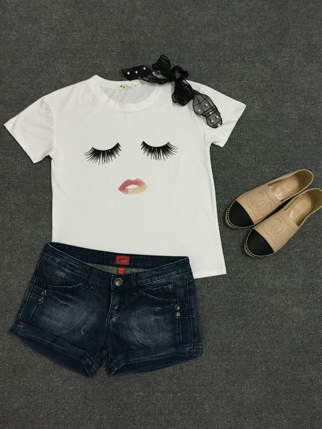 a2d62848866 Print Tee Eyelash T Shirt Women 2015 Loose Harajuku White T Shirt Femme  Plain Plus Size Summer Women s T Shirt Hot Sale Tees-in T-Shirts from  Women s ...
