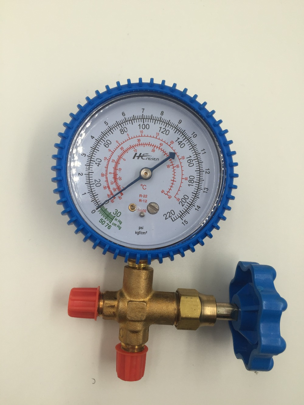Air Conditioner Part 3-Way Valve 1/4NPT Thread Single Manifold Gauge 0-220psi 13mm male thread pressure relief valve for air compressor