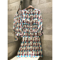 2019 women's new silk Umbrella printing summer Shell button dress long sleeved casual High quality dress
