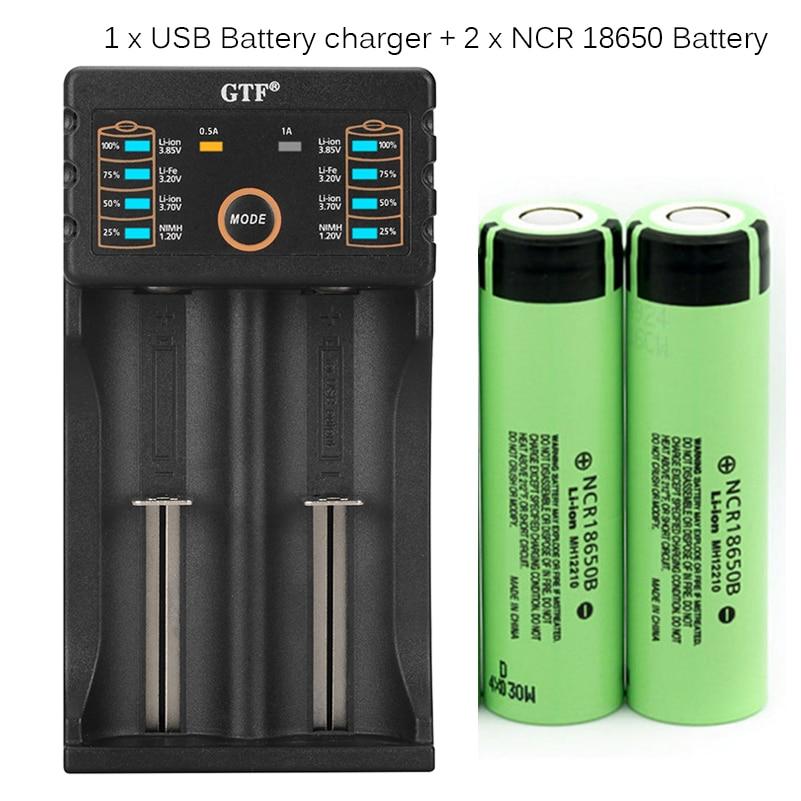 GTF 100% bateria Original 3.7 v 3400 mah 18650 bateria recarregável com carregador de Bateria para 26650 14500 18340 18650 Bateria