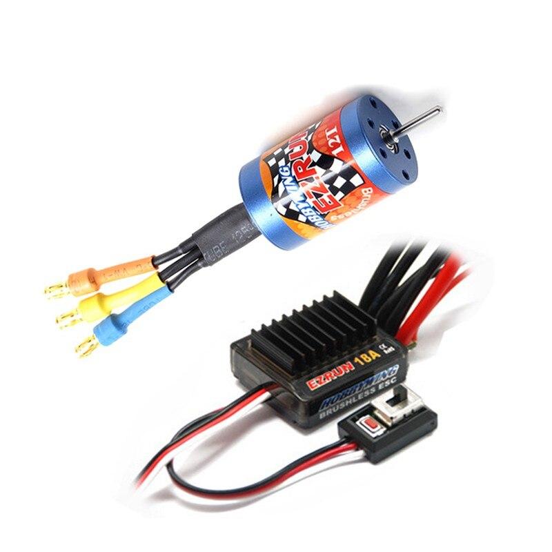 FATJAY HobbyWing EZRUN 2030 12T 7800KV 18T 5200KV moteur sans balais + 18A ESC combo pour la mise à niveau des voitures RC 1/16