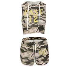 b31937cac487e keptfeet Summer Camouflage Running Set Outfit Print Hooded Short Vest Home  Shorts