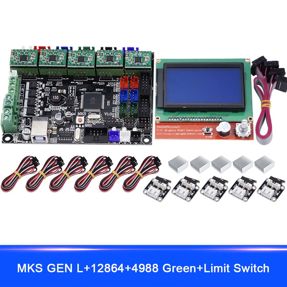 For MKS GEN L Compatible with 12864 LCD Display 4988 Motor Driver with Limit Switch 3D Print Kits XXM8 professional 3d printer kit mks gen 1 4 control board lcd 12864 6x limit switch 5x 4988 stepper driver high