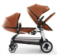 Eggshell high end twin high landscape second child baby stroller double folding front and rear reclining seats