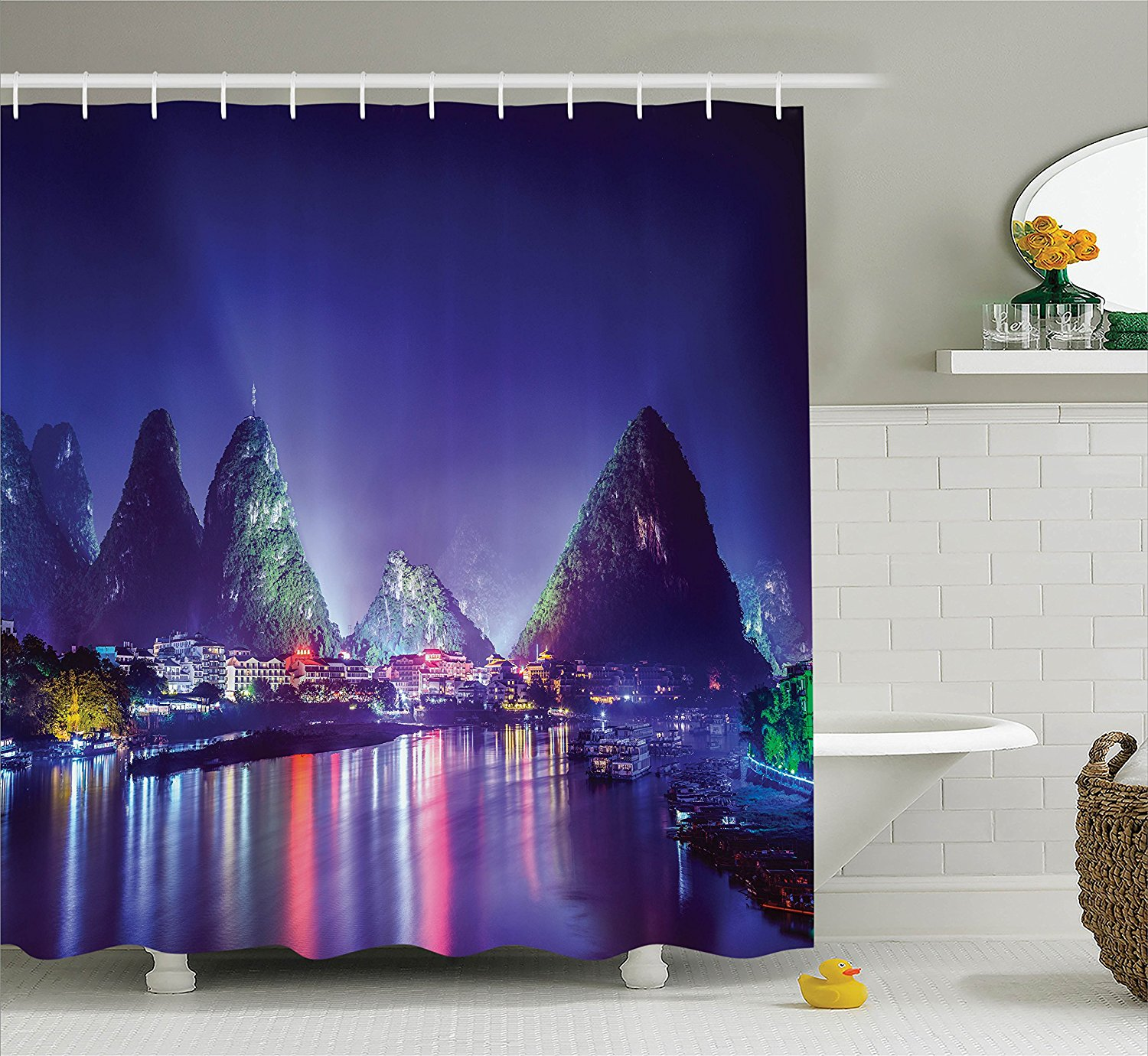 Lake House Decor Collection, Chinese Mountain with Trees Landscape Colorful Light Show River Boats on Water Night-time