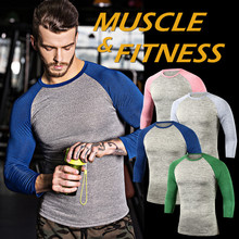 Men Pro Quick Dry Workout Gymming Top Long Tee Sporting Runs Yogaing Compress Fitness Clothes Exercise Clothing T Shirt MA52