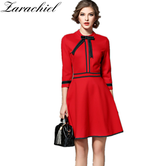 77f1e3a0f7db Zarachiel Elegant Contrast Colours Christmas Red Dress New 2019 Autumn Women  Casual 3 4 Sleeve A Line Dress With Bow And Pocket