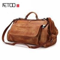 AETOO Ретро Натуральная кожа Мужская сумка косметичка для путешествий, командировок человек большой емкости путешествия мужская кожаная сум