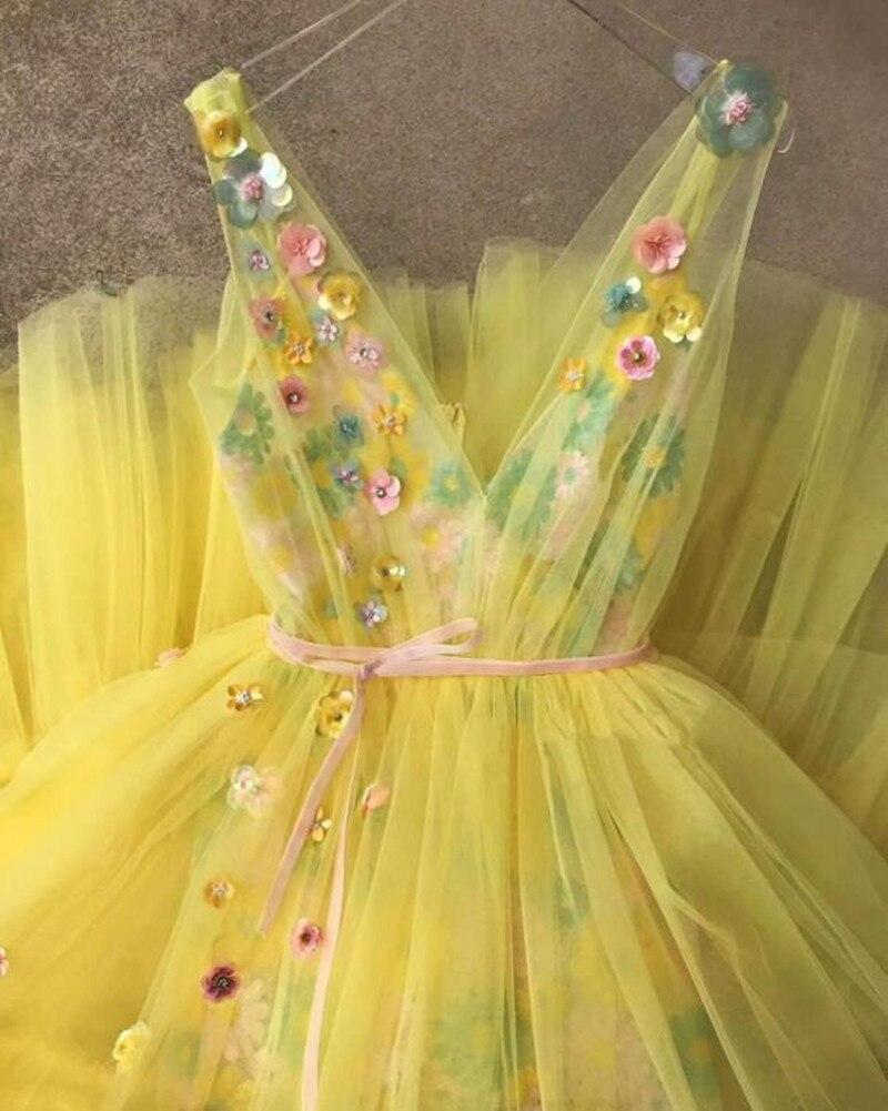 Желтый Тюль великолепные вечерние наряды Robe De Soiree Длинные вечерние платья V образным вырезом индивидуальный заказ цветочный торжественное ... - 3