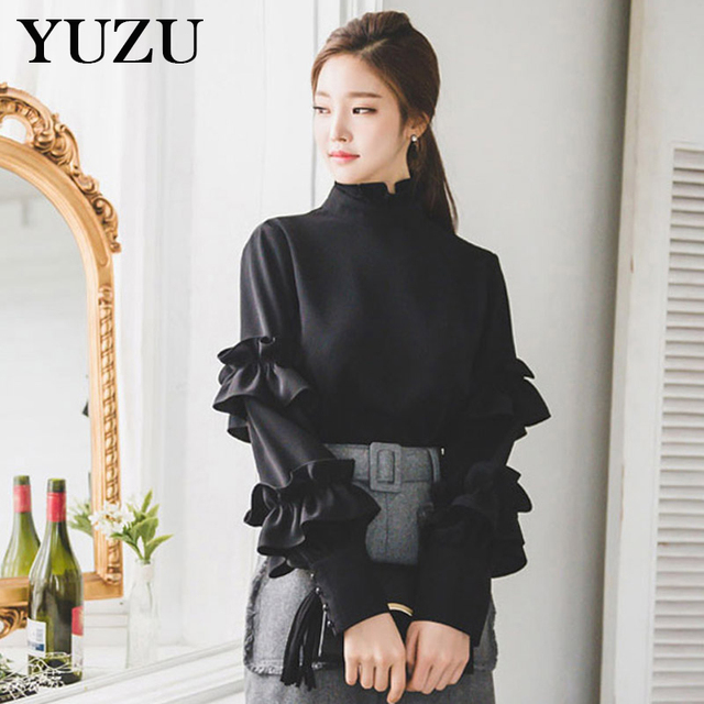 449b765c98db7 Women Black Chiffon Shirt Office Style Ruffles Stand Collar lantern Sleeve  tops and blouses 2018 Spring New Solid Elegant Blouse