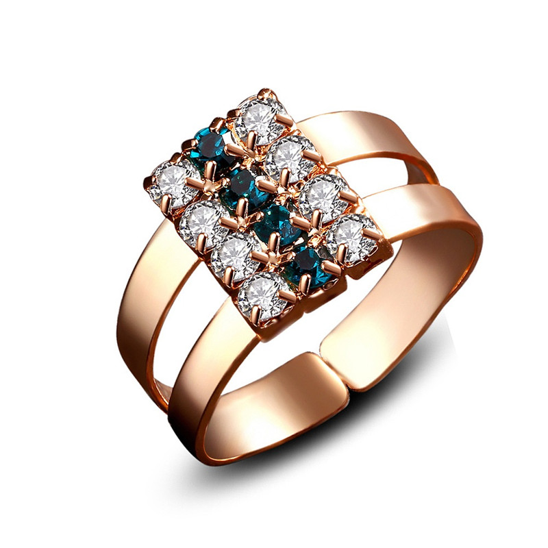 QCOOLJLY Hot Sale Rose Gold ColorTwo Lows Rings White And Green Crystal Cubic Zirconia Finger Ring Adjustable Jewelry For Women