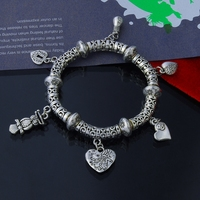 2015 925 Tibet Silver Cute Circle Links With Five Charms Fashion Nation Style Bracelet For Women