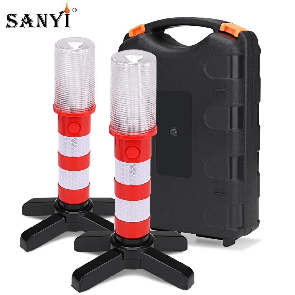 Sanyi 2pc LED Magnetic Flashlight Emergency Roadside Flares Detachable Stand Beacon