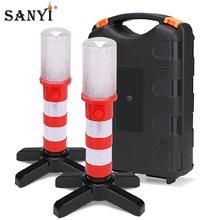 2pc LED Magnetische Taschenlampe Notfall Straßenrand Flares Abnehmbare Stand Leuchtfeuer Sicherheit Strobe Licht Warnung Signal Alarm SOS Lampen