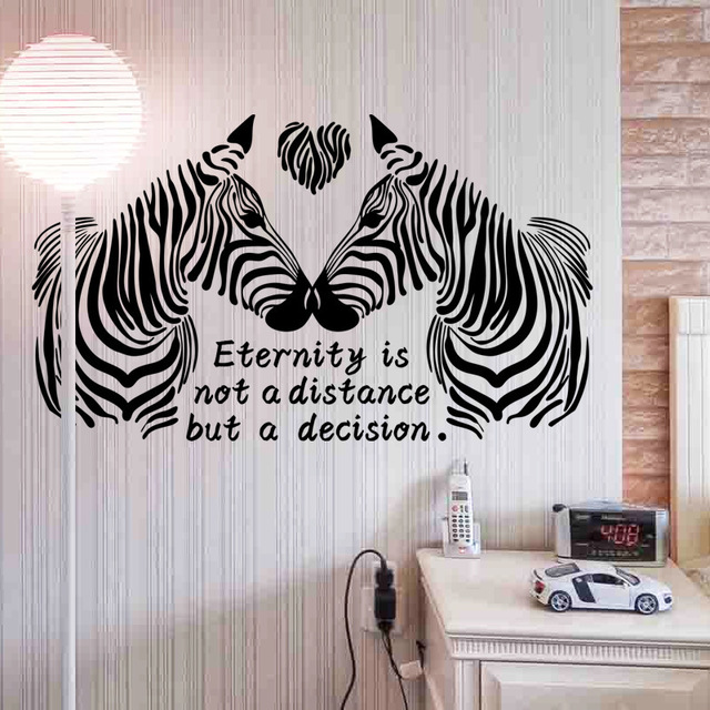 Zebra Wall Stickers Stylish Zebra Love Story Home Wall Decor Vinyl  Removable Art Murals, Modern
