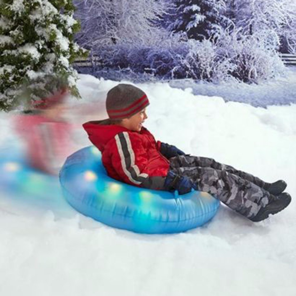 LED Inflatable Flash Snow Tube Thickened Snow Water Ski Drag Sledge Light Circle Air Tube Round with Big Grab Handles Outdoor