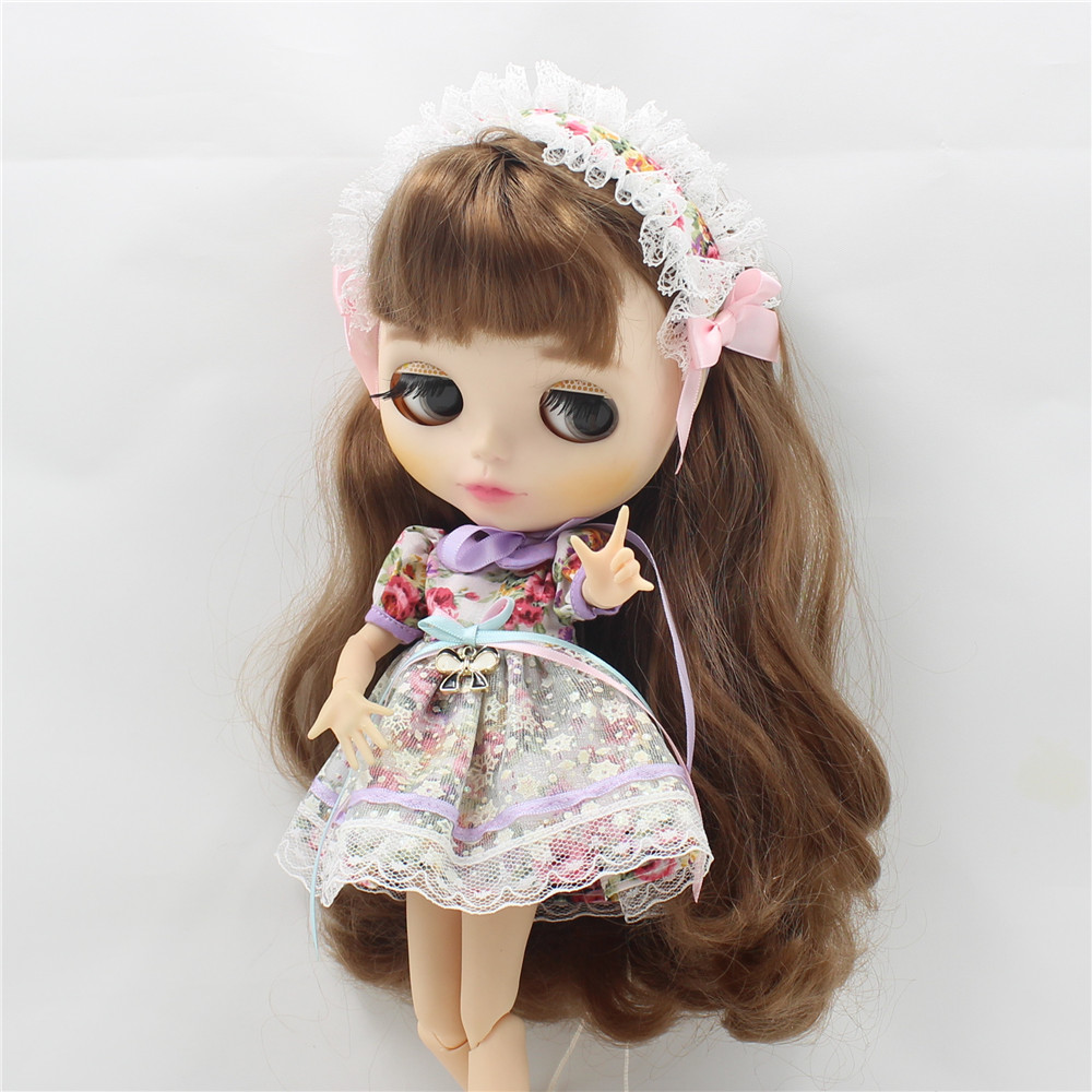 Neo Blythe Doll Vintage Floral Dress with Hairband 3