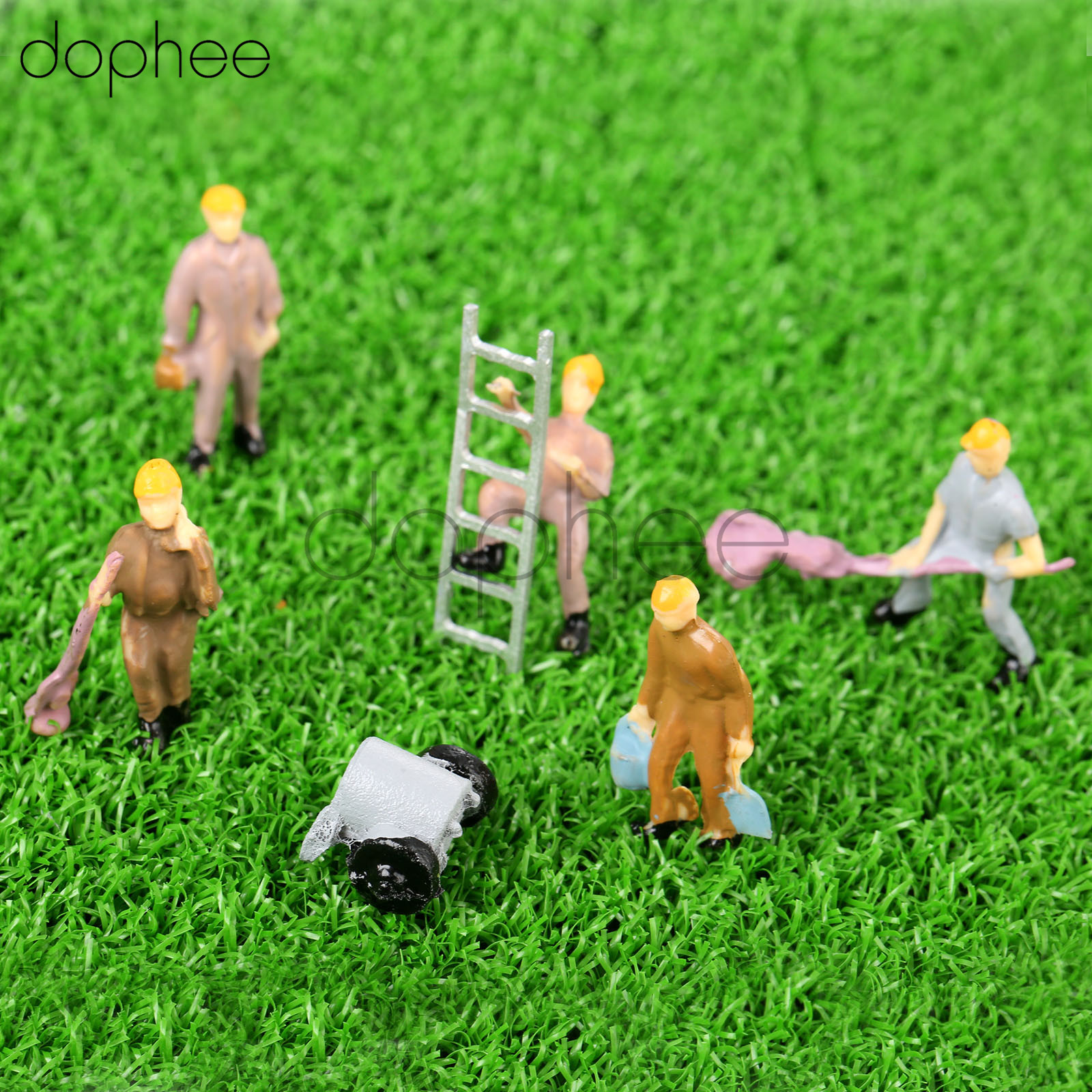 dophee 25pcs Model Train Workers Persons Figures With Ladder and Bucket 1/87 HO Scale Railway Landscape Layout