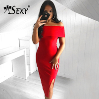 Gosexy 2017 Women New Off Shoulder Split Midi Bandage Party Dresses Summer Wholesale
