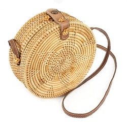 Five-star Pattern Buckle Round Straw Bag Circle Rattan Straw Beach Shoulder Bag For Women xb1600